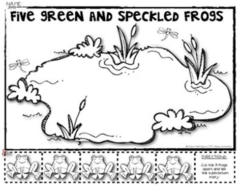 five speckled frogs coloring page 5 green speckled frogs subtraction math story decomposing