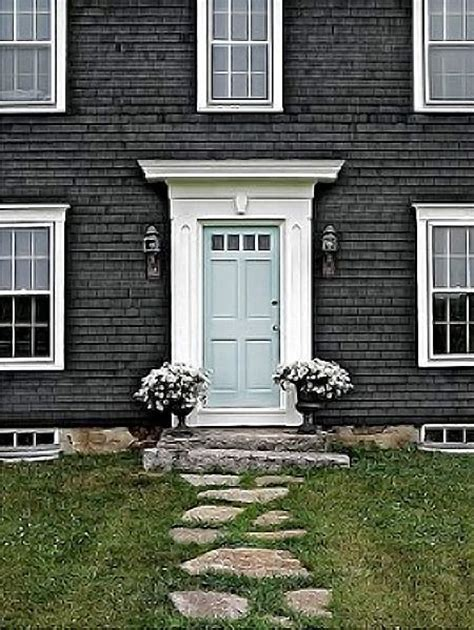 blue house white trim front door blue door grey house white trim exterior paint colors
