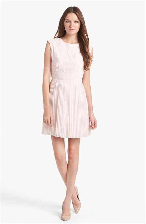 Line Dress ted baker pleated lace a line dress in pink light pink lyst