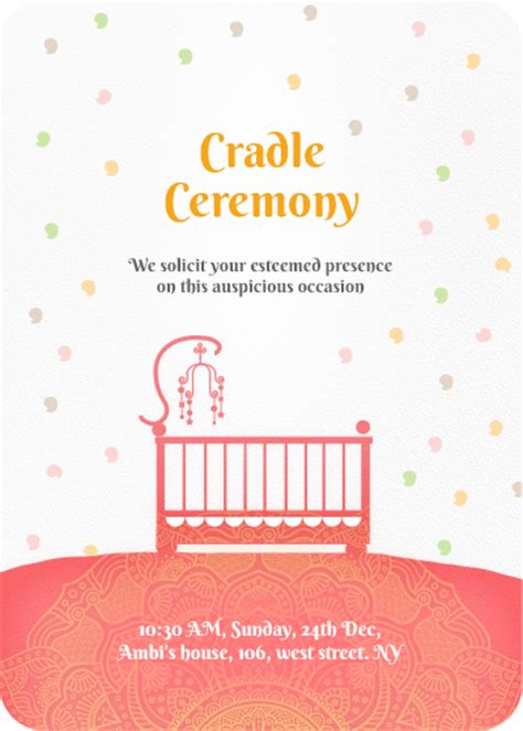 Cradle Ceremony Invitation Templates Online Invitation Card Designs Invites