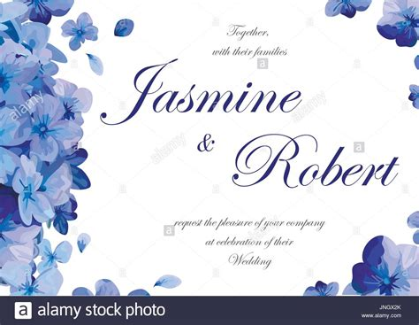 Wedding Card Design Flowers by Wedding Invitation Flower Invite Card Design With Blue