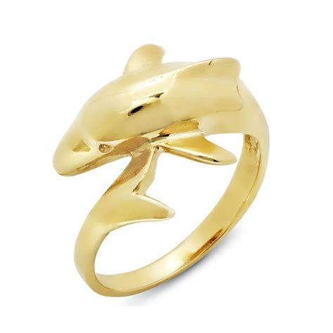14k yellow gold dolphin shaped ring