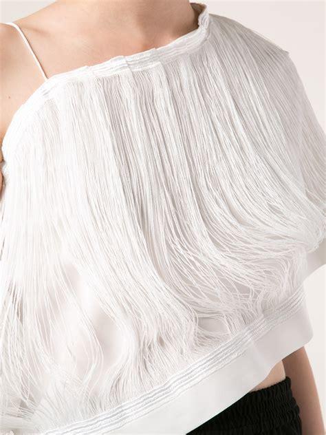 White Fringed Top lyst j w fringe top in white