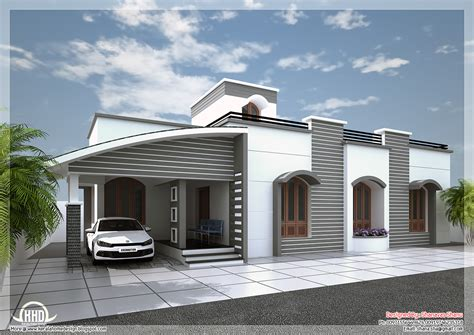 Modern single floor villa in 1350 sq.feet Kerala home design and floor plans