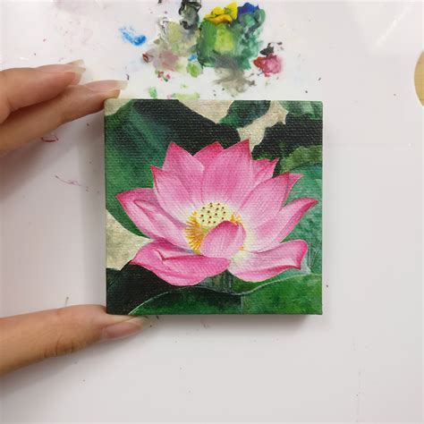 Lotus Kanvas 40x40 mini lotus acrylic on canvas 3x3 inch painting