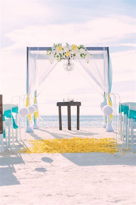 Tiffany Blue, Yellow and White Pass A Grille Beach Wedding