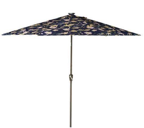 Patio Umbrella With Lights Qvc Atleisure 10 Floral Vine Print Market Umbrella W Solar