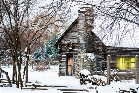 Rustic Country House Plans by Winter Christmas Scene With A Log Cabin Covered With Snow