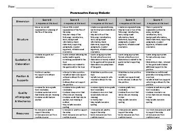 persuasive argumentative essay rubric middle and high