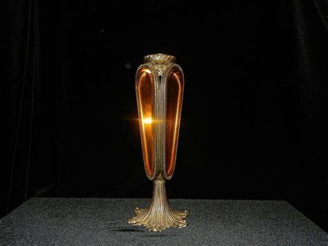 Vase Ls Lighting by Vintage L L Wmg Beveled Glass 24kt Gold Filigree