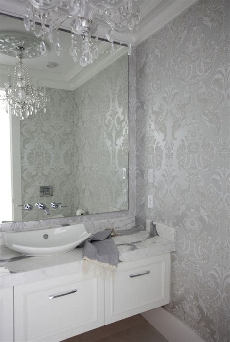 contemporary wallpaper for bathrooms silver damask wallpaper contemporary bathroom the