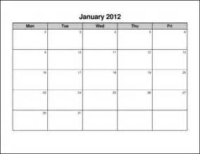 monday to friday calendar template monday through friday monthly calendar template calendar