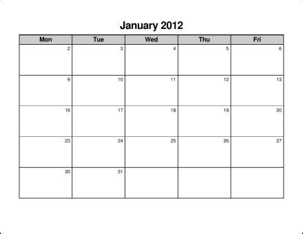 10 best images of monday through friday calendar template