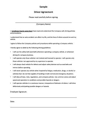 Agreement Letter For Driver Driver Agreement Template Fill Printable Fillable Blank Pdffiller