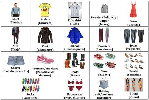 imagenes de ropa en ingles y español imagenes de ropa deportiva en ingles para ense 241 ar