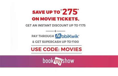 bookmyshow offer code bookmyshow offer get rs 275 off on movie tickets using