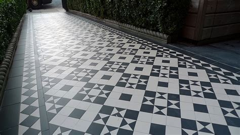london victorian black and white mosaic tile path battersea london london garden blog