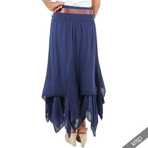 Layered Maxi Skirt womens lace layered hitched maxi skirt a line boho
