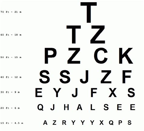 printable vision chart pdf eye exam letters the best letter sle