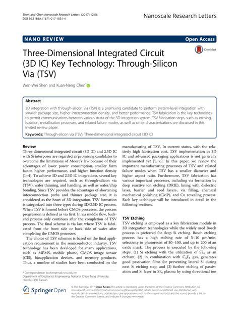 three dimensional integrated circuit design pdf three dimensional integrated circuit 3d ic key technology through silicon via tsv pdf