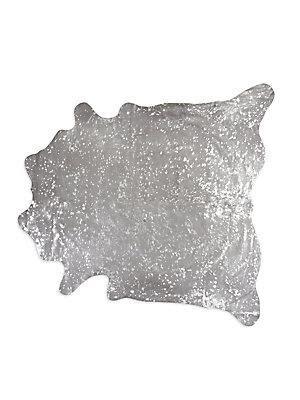 Cowhide Rug Silver - silver and beige metallic speckled cowhide rug