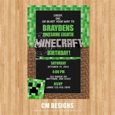 minecraft birthday invitations templates minecraft birthday invitation by designsbycassiecm on etsy