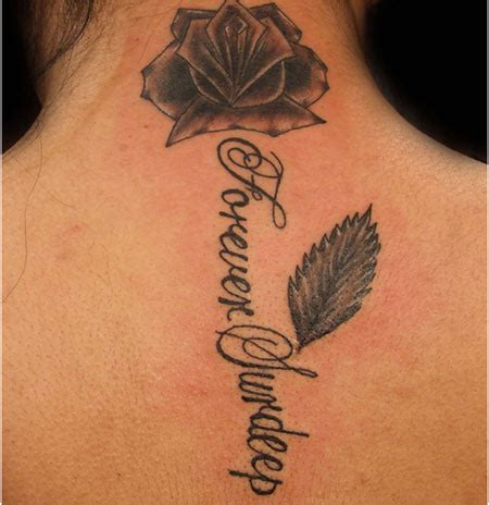 name and rose tattoo 53 fantastic back neck tattoos