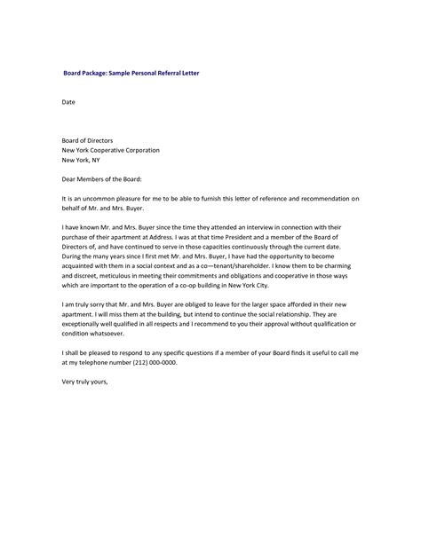 Financial Reference Letter For Co Op sle co op board reference letters co op apartment board