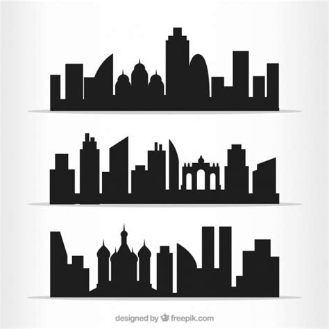 City Outline Vector by Cities Outlines Pack Vector Free