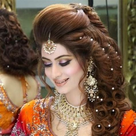 latest wedding hair style for rebonded hair latest pakistani bridal hairstyles for wedding day 2016