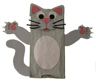 cat crafts paper bag cat puppet