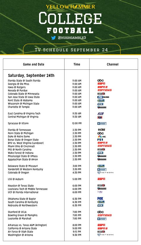 printable tv schedule pin printable college football tv schedule on pinterest