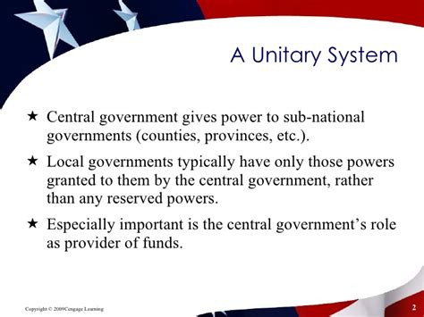 exle of unitary government federalism ch 3