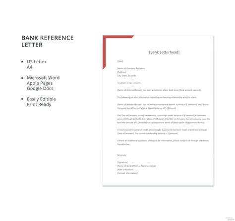 bank reference letter template microsoft word