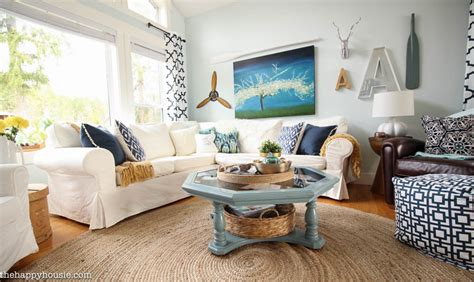 cozy coastal navy and white living room refresh the