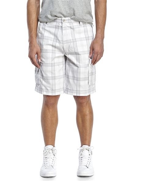 light grey cargo lyst dockers light grey plaid cargo shorts in gray for