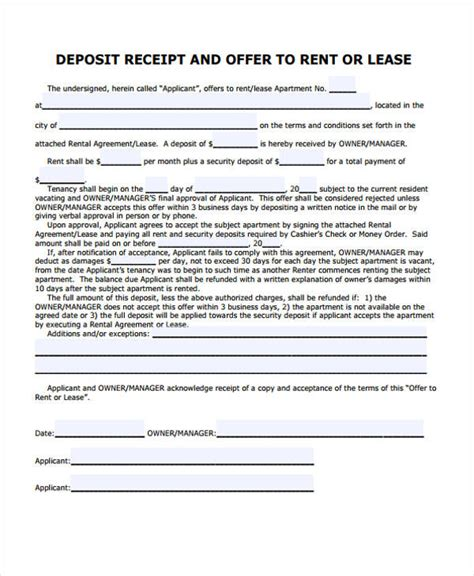 residential rental receipt word template lease receipt templates 7 free word pdf format