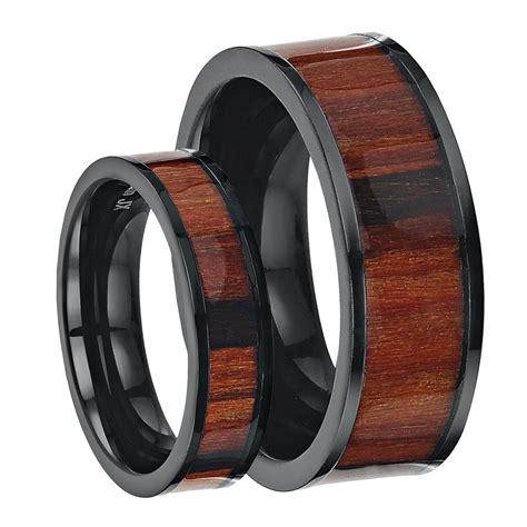 Set Titanium 8 his hers black titanium wedding ring band set inlayed