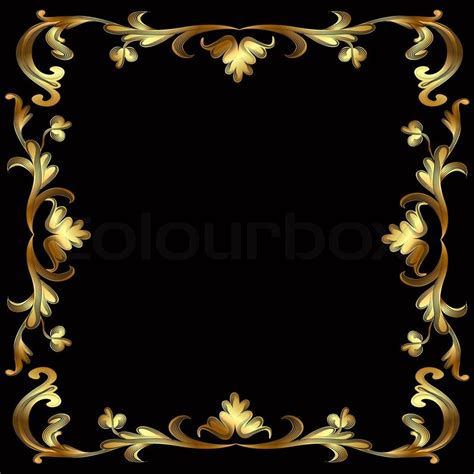 illustration frame with gold pattern on black stock photo colourbox