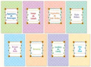 8 best images of free printable cookbook divider tabs