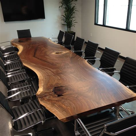 made custom live edge black walnut conference table