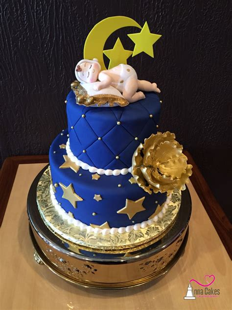Moon And Baby Shower Ideas by Moon And Baby Shower Cake Navy And Gold Annacakes