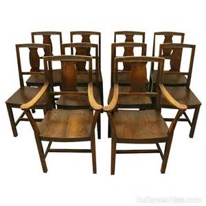 10 Chair Dining Set Set Of 10 Solid Oak Dining Chairs Antiques Atlas