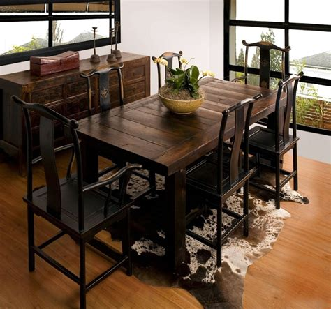 Table Chairs Design Ideas Dining Room Wood Narrow Dining Table With Cowhide Rug And Wooden Chairs Plus Glass