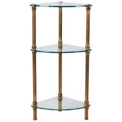 Brass And Glass Etagere Three Tier Brass And Glass Corner Etagere At 1stdibs