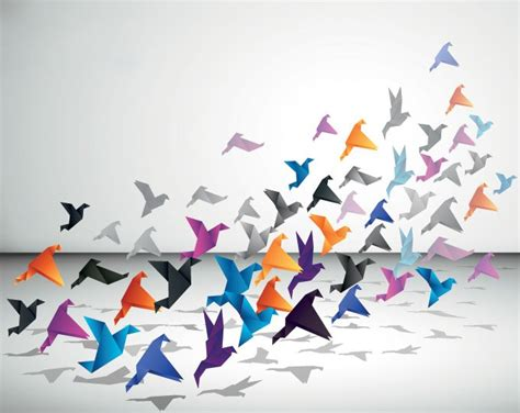 Origami Flying Birds - origami flying birds vector file 365psd
