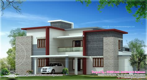 contemporary house plans flat roof 2300 sq ft contemporary flat roof house exterior kerala home design and floor plans