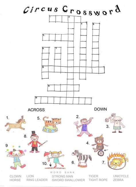 Thematic Magnet Puzzle Circus children s crosswords puzzles loving printable