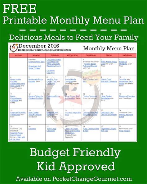 budget dinner menu december menu plan 2016 pocket change gourmet
