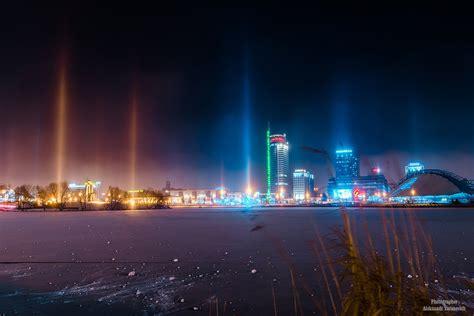 light pillars eerie light pillars transform minsk into a sci fi